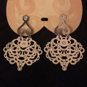 NWT Brighton Silver Lace Design Earrings